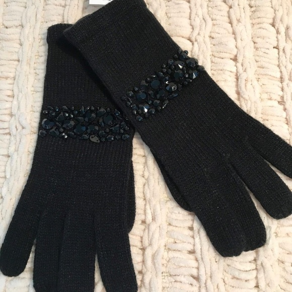 0e1d3c18361 Womens Black Dressy Winter Gem Detail Gloves NWT